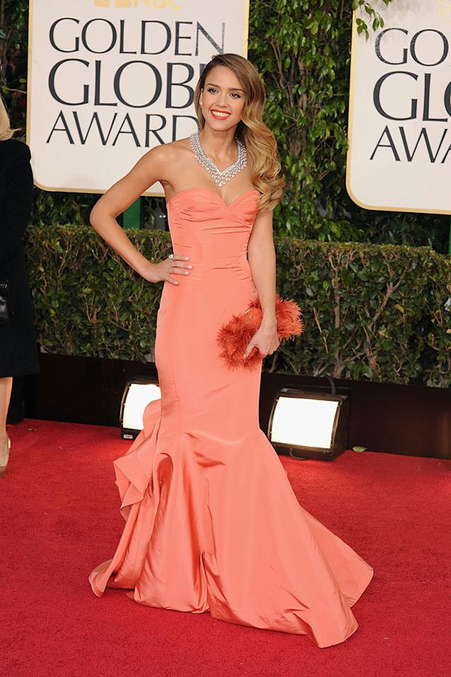 Jessica Alba arrives at the 70th Annual Golden Globe Awards at the Beverly Hilton in Beverly Hills, CA on January 13, 2013.
