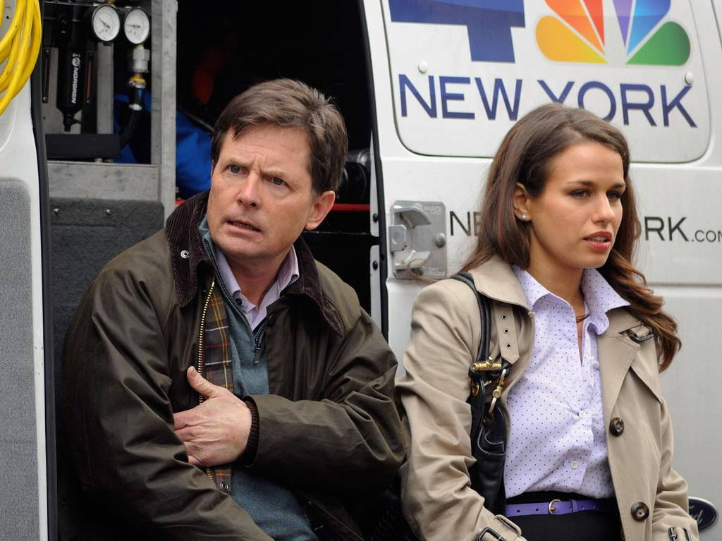 "Michael J. Fox and Ana Nogueira on location for ""Michael J. Fox Project"" on January 30, 2013 in New York City."