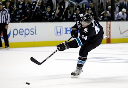 The Sharks' playoff fortunes changed – dramatically – after losing top defenseman Marc-Edouard Vlasic. (Getty)