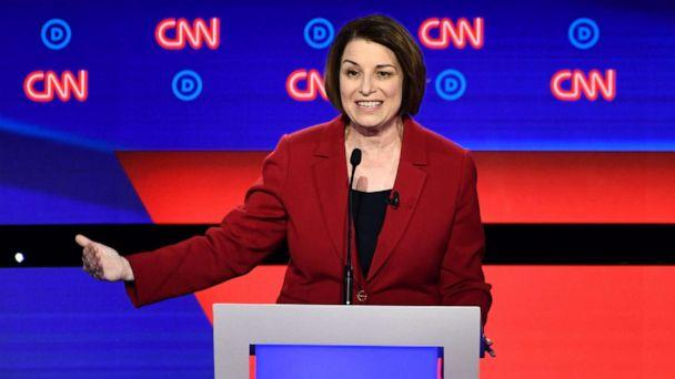 PHOTO: Democratic presidential hopeful Sen. Amy Klobuchar speaks during the first round of the second Democratic primary debate in Detroit, July 30, 2019. (Brendan Smialowski/AFP/Getty Images)