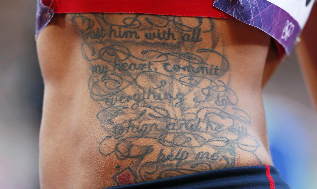 The tattoos of Chantae McMillan of the U.S. are seen as she competes in her women's heptathlon shot put Group A event at the London 2012 Olympic Games at the Olympic Stadium