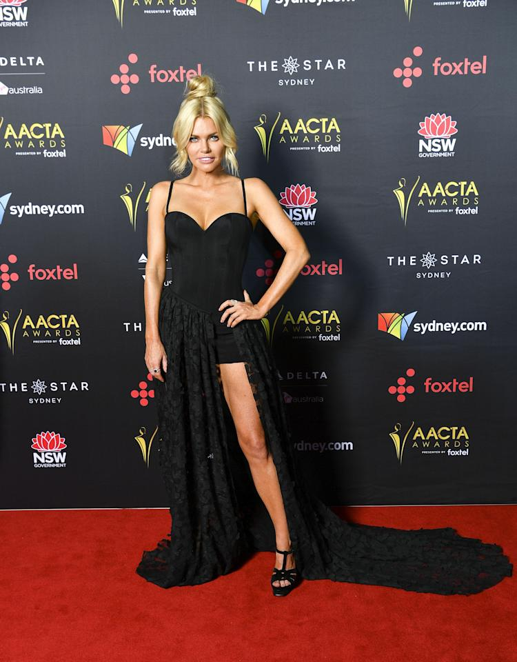 <p>It's the biggest night for Australian cinema and TV with the red carpet being rolled out for the 7th annual AACTA Awards at Sydney's The Star. Former Bachelorette Sophie Monk brought some serious glamour to the rain-soaked afternoon in a dress mimicking Angelina Jolie's famous exposed leg.</p>
