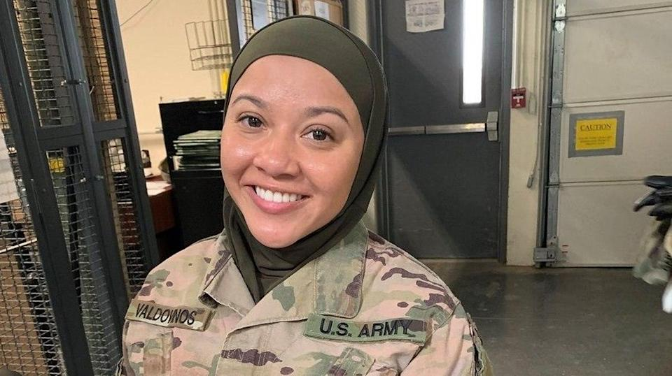 Sgt. Cesilia Valdovinos alleges she was forced to remove her military-authorized hijab by a senior noncommissioned officer. (Credit: Military Religious Freedom Foundation)