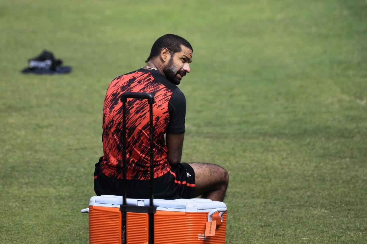 India's Shikhar Dhawan sits on a box during a practice session ahead of the Asia Cup tournament in Dhaka, Bangladesh, Monday, Feb. 24, 2014. Pakistan plays Sri Lanka in the opening match of the five nation one day cricket event that begins Tuesday. (AP Photo/A.M. Ahad)