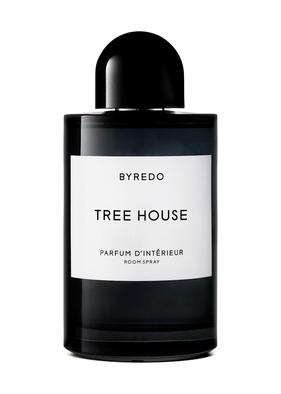 """Byredo's extremely photogenic home fragrances look as great as they smell, and can double as <a href=""""https://www.glamour.com/gallery/best-housewarming-gifts?mbid=synd_yahoo_rss"""" rel=""""nofollow noopener"""" target=""""_blank"""" data-ylk=""""slk:a housewarming gift"""" class=""""link rapid-noclick-resp"""">a housewarming gift</a> for your sister who just moved in (or out). $120, Nordstrom. <a href=""""https://shop.nordstrom.com/s/byredo-tree-house-room-spray/4774565?origin=coordinating-4774565-0-1-PDP_1-recbot-visually_similar_type2_no_dresses&recs_placement=PDP_1&recs_strategy=visually_similar_type2_no_dresses&recs_source=recbot&recs_page_type=product&recs_seed=4770921&color=NO%20COLOR"""" rel=""""nofollow noopener"""" target=""""_blank"""" data-ylk=""""slk:Get it now!"""" class=""""link rapid-noclick-resp"""">Get it now!</a>"""