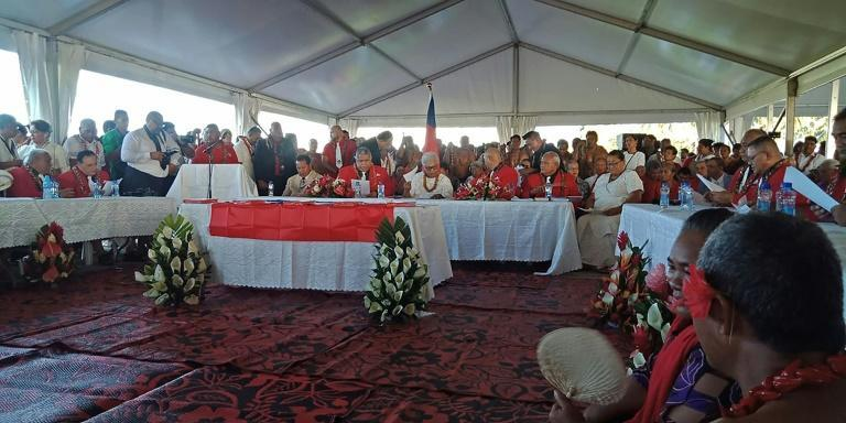 Fiame Naomi Mata'afa (seated C-in white) sat with members of parliament and the judiciary as she was sworn in as Samoa's first woman prime minister