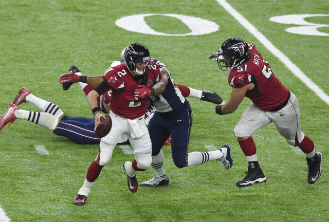 "Matt Ryan and the Atlanta Falcons engineered the most infamous collapse of the decade in Super Bowl LI against the <a class=""link rapid-noclick-resp"" href=""/nfl/teams/new-england/"" data-ylk=""slk:New England Patriots"">New England Patriots</a>. (Focus on Sport/Getty Images)"