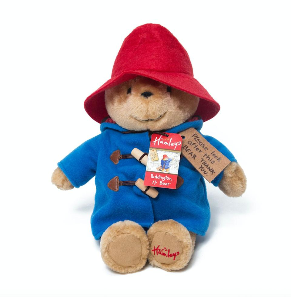 """Who doesn't want a cuddly, plush Paddington Bear teddy?! He's 28cm tall, has his signature blue duffel coat and of course, his swing tag. What a cutie.<br />Price: £30<br />Ages: 0+<br /><a href=""""http://www.hamleys.com/hamleys-exclusive-cuddly-paddington-bear-soft-toy.ir"""" target=""""_blank"""" rel=""""noopener noreferrer"""">Click here to buy</a>."""