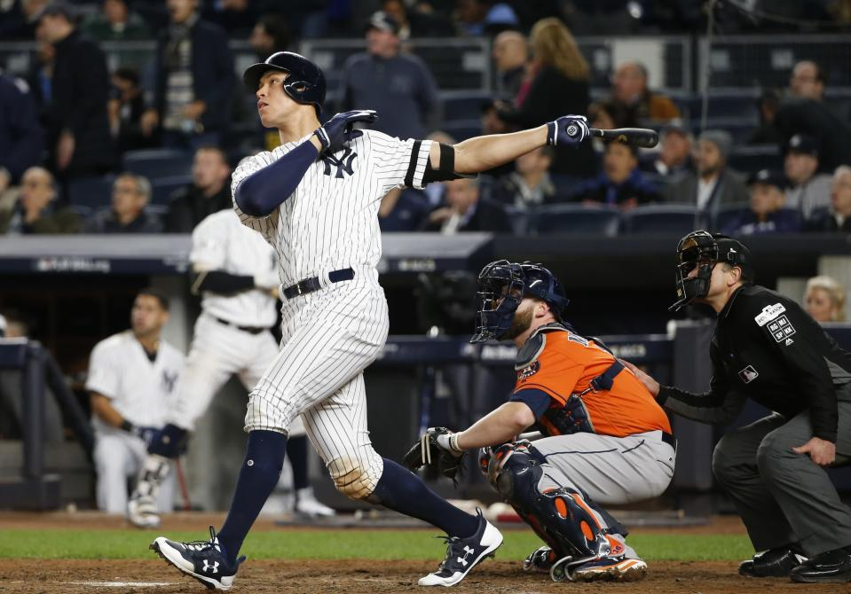 Aaron Judge will bring his immense power to MLB The Show 18. (AP Photo/Kathy Willens)