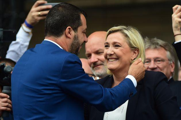 MILAN, ITALY - MAY 18:  (L - R) Leader of Northern League party, Matteo Salvini embraces Marine Le Pen during demonstration ahead of the European elections in Piazza Duomo on May 18, 2019 in Milan, Italy.  (Photo by Pier Marco Tacca/Getty Images) (Photo: Pier Marco Tacca via Getty Images)