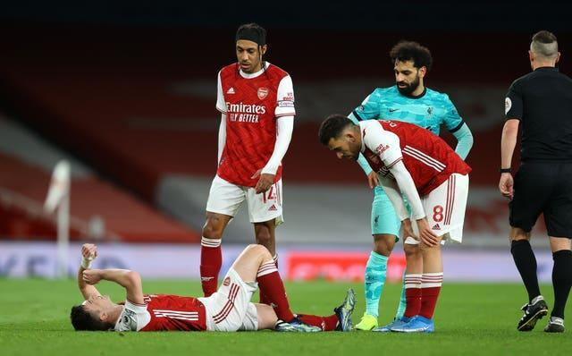 Tierney suffered knee ligament damage in the first-half of the defeat to Liverpool.