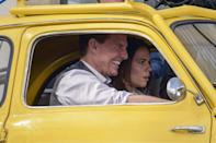 <p>Tom Cruise and costar Hayley Atwell are seen filming<i> Mission Impossible 7</i> in a yellow Fiat 500 in Rome on Friday. </p>