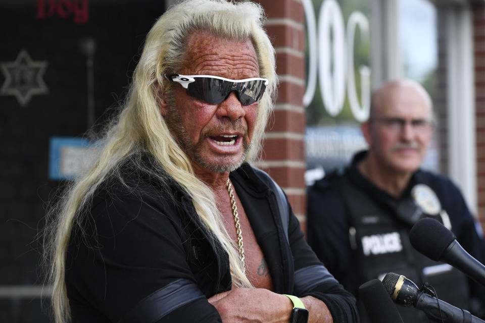 """EDGEWATER , CO - AUGUST 02:  Duane """"u201cDog The Bounty Hunter""""u201d Chapman during a press conference in front of his store August 02, 2019. The store, which sells apparel and merchandise from his reality television show, was burglarized on Tuesday, some of his late wife's belongings were stolen along with other items. Beth Chapman died in June of cancer. Dog Chapman offered not to press charges if the suspect came forward in 48 hours. (Photo by Andy Cross/MediaNews Group/The Denver Post via Getty Images)"""