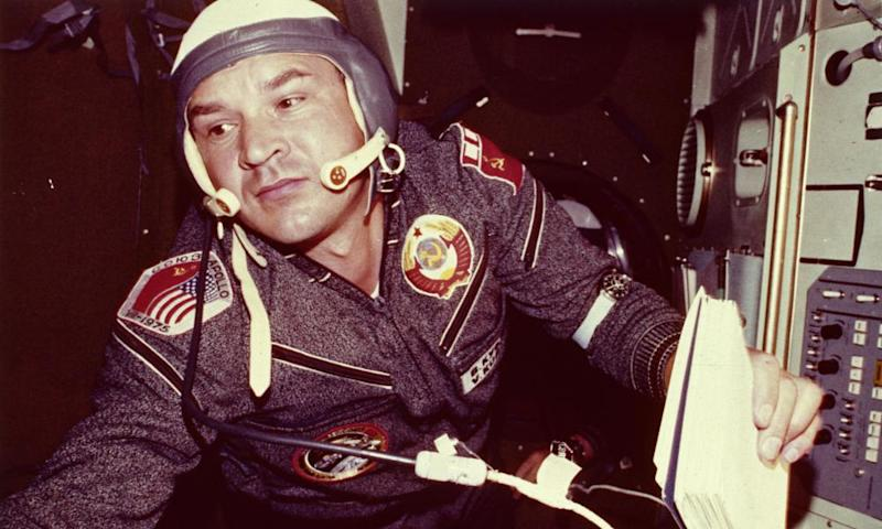 Alexei Leonov aboard the Soyuz spacecraft in 1975.