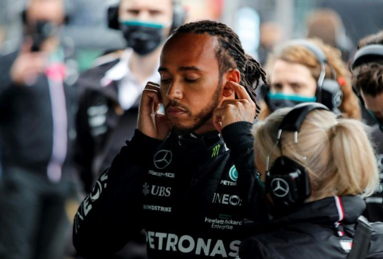Not listening: Lewis Hamilton said Mercedes should have heeded his call to stay on the track (AFP/UMIT BEKTAS)