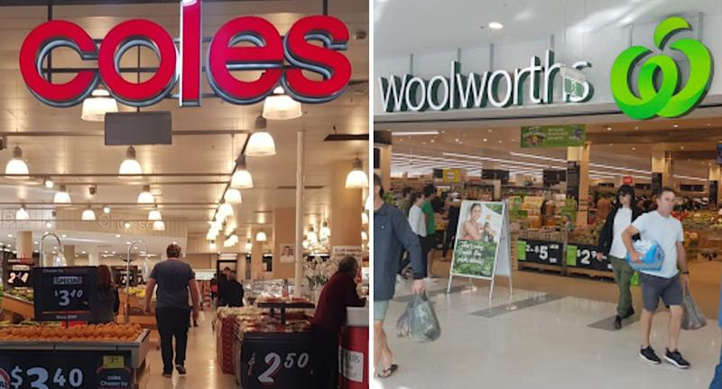 Photo shows front of a Coles and Woolworths store as supermarkets reintroduce buying limits.