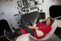 Fuelled by self-hypnosis and a new-found love of oysters, British skipper Samantha Davies tries out a hammock prototype in her boat Initiatives Coeur