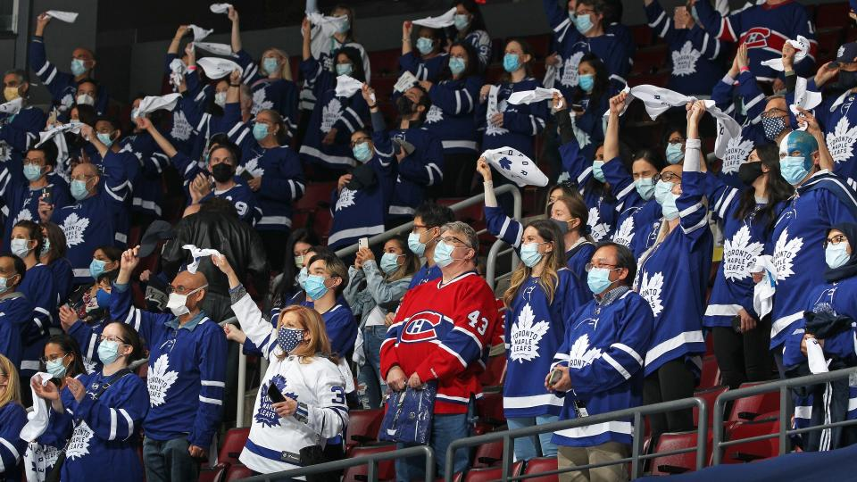TORONTO, ON - MAY 31: Part of 550 Healthcare workers who took in play between the Montreal Canadiens and the Toronto Maple Leafs in Game Seven of the First Round of the 2021 Stanley Cup Playoffs at Scotiabank Arena on May 31, 2021 in Toronto, Ontario, Canada. The Canadiens defeated the Maple Leafs 3-1 to win series 4 games to 3. (Photo by Claus Andersen/Getty Images)