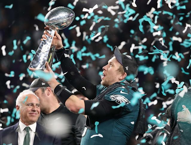 Philadelphia Eagles' Nick Foles celebrates winning Super Bowl LII with the Vince Lombardi Trophy. REUTERS/Chris Wattie