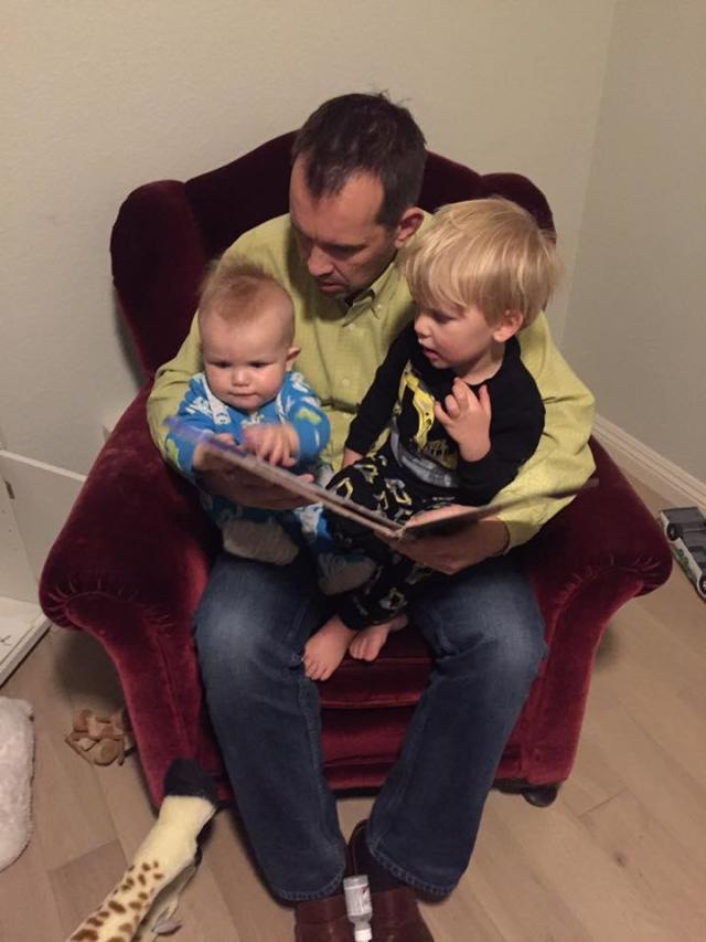 Erlach's husband with their two sons. (Photo: Courtesy of Celeste Erlach)