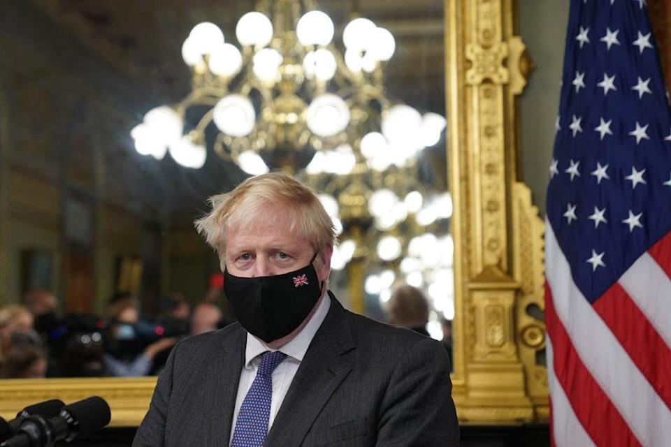 Prime Minister Boris Johnson in the vice president's office in the Eisenhower Executive Office Building, next to the White House (Stefan Rousseau/PA) (PA Wire)