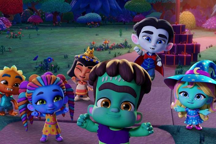 """<p><strong>Netflix description:</strong> """"The Super Monsters use their powers to get their neighbors in the <a class=""""link rapid-noclick-resp"""" href=""""https://www.popsugar.com/Halloween"""" rel=""""nofollow noopener"""" target=""""_blank"""" data-ylk=""""slk:Halloween"""">Halloween</a> spirit, then help a nervous friend see there's nothing to be afraid of.""""</p> <p><strong>Ages it's appropriate for:</strong> 3 and up</p> <p><a href=""""https://www.netflix.com/title/80999063"""" class=""""link rapid-noclick-resp"""" rel=""""nofollow noopener"""" target=""""_blank"""" data-ylk=""""slk:Watch Super Monsters Save Halloween on Netflix now!"""">Watch <strong>Super Monsters Save Halloween</strong> on Netflix now!</a></p>"""