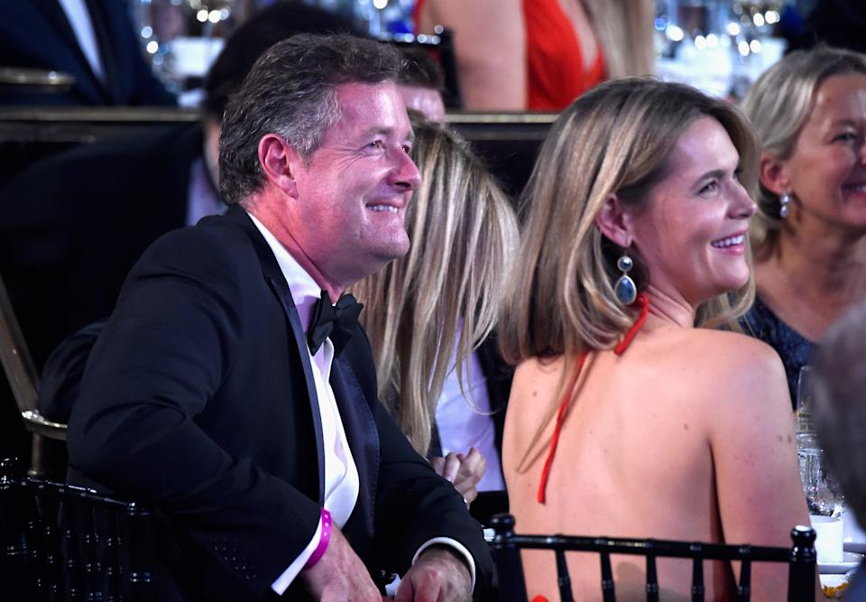 BEVERLY HILLS, CA - OCTOBER 30:  (EXCLUSIVE COVERAGE) TV personality Piers Morgan (L) and journalist Celia Walden attend the 2015 Jaguar Land Rover British Academy Britannia Awards presented by American Airlines at The Beverly Hilton Hotel on October 30, 2015 in Beverly Hills, California.  (Photo by Frazer Harrison/BAFTA LA/Getty Images for BAFTA LA)