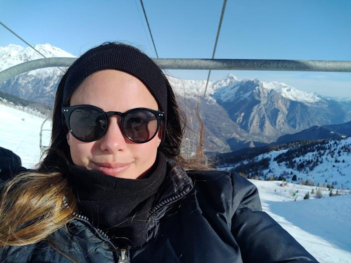 Pictured is Intan Clement in a lift at ski fields.