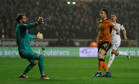 Soccer Football - Championship - Wolverhampton Wanderers vs Derby County - Molineux Stadium, Wolverhampton, Britain - April 11, 2018 Wolverhampton Wanderers' Diogo Jota scores their first goal Action Images/Andrew Couldridge