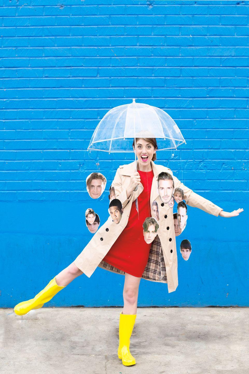 """<p>Hallelujah, here's a costume that's weather-proof <em>and</em> will inspire a night of karaoke. Tape cutouts of your favorite guys — George Clooney, Prince Harry, to list a few — to a clear umbrella, then wear rain boots and a trench coat to complete the look. </p><p><a class=""""link rapid-noclick-resp"""" href=""""https://www.amazon.com/Totes-Luggage-Bubble-Umbrella-Clear/dp/B000YB7T04/ref=sr_1_1?tag=syn-yahoo-20&ascsubtag=%5Bartid%7C10055.g.2750%5Bsrc%7Cyahoo-us"""" rel=""""nofollow noopener"""" target=""""_blank"""" data-ylk=""""slk:SHOP CLEAR UMBRELLAS"""">SHOP CLEAR UMBRELLAS</a></p><p><em><a href=""""http://studiodiy.com/2016/10/18/diy-raining-men-costume/"""" rel=""""nofollow noopener"""" target=""""_blank"""" data-ylk=""""slk:See more on Studio DIY »"""" class=""""link rapid-noclick-resp"""">See more on Studio DIY »</a></em> </p>"""