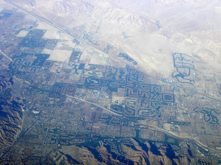 Aerial shot of the Coachella Valley credit: Wikimedia Commons