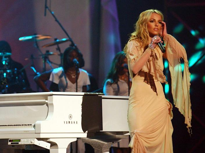 Britney Spears performs at the 29th Annual American Music Awards January 9, 2002