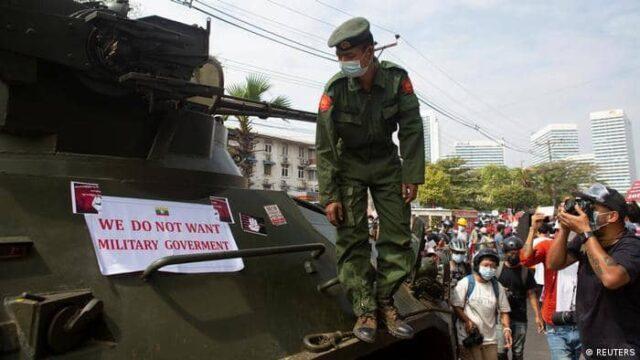 Even when the military junta has placed armored vehicles on the streets, people are not afraid to come out and protest