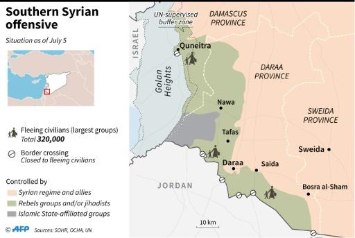 Map of Syria showing pro-regime offensive, as of July 5