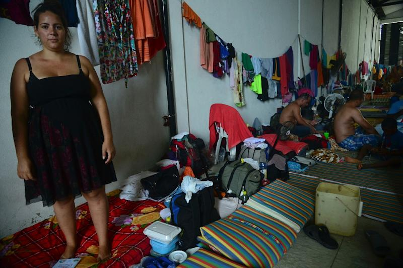 Pregnant Cuban migrant Yadira Torres in a shelter in Colombia (AFP Photo/Raul Arboleta)