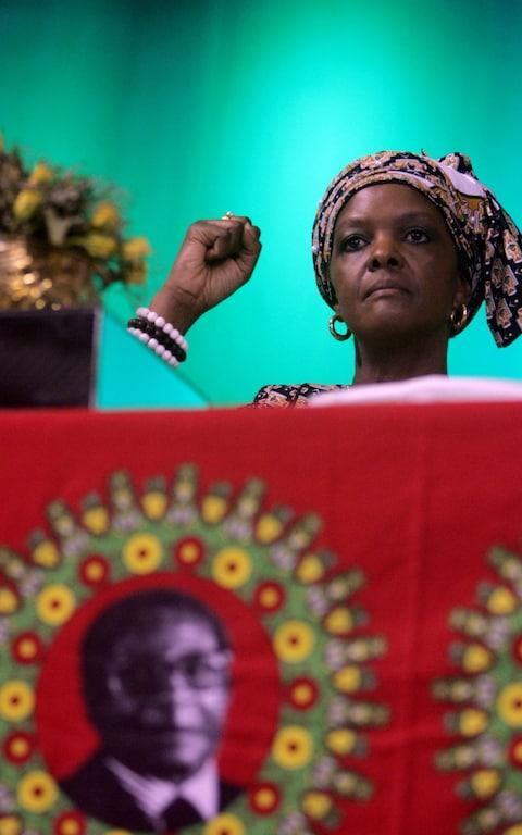 Grace Mugabe, shown here in October 2014, returned home from South Africa - Credit: JEKESAI NJIKIZANA/AFP/Getty Images
