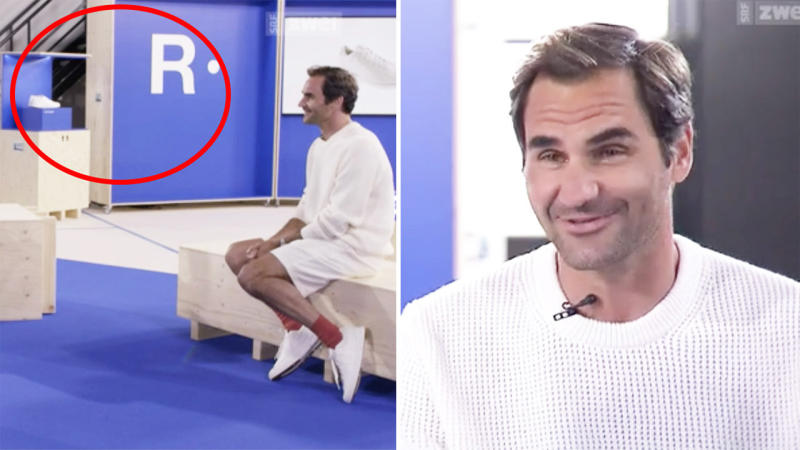 Roger Federer speaking in an interview on SRF Sport about tennis, with 'The Roger' brand in the background.