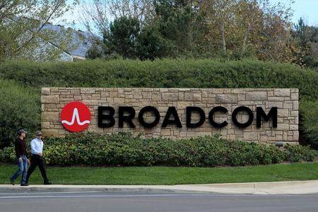 FILE PHOTO: A sign to the campus offices of chip maker Broadcom Ltd, who announced on Monday an unsolicited bid to buy peer Qualcomm Inc for $103 billion, is shown in Irvine, California
