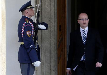 Czech Prime Minister Bohuslav Sobotka leaves Prague Castle in Prague, Czech Republic May 4, 2017.    REUTERS/David W Cerny