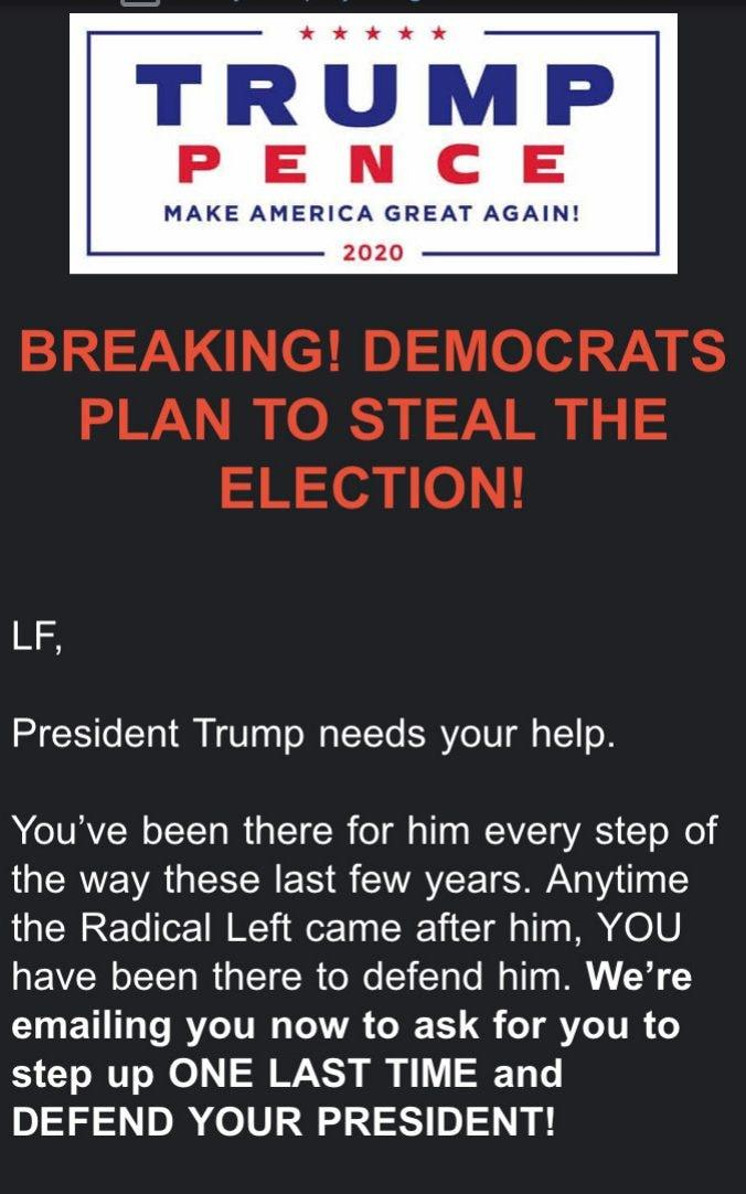 Emails sent by the President to his supporters