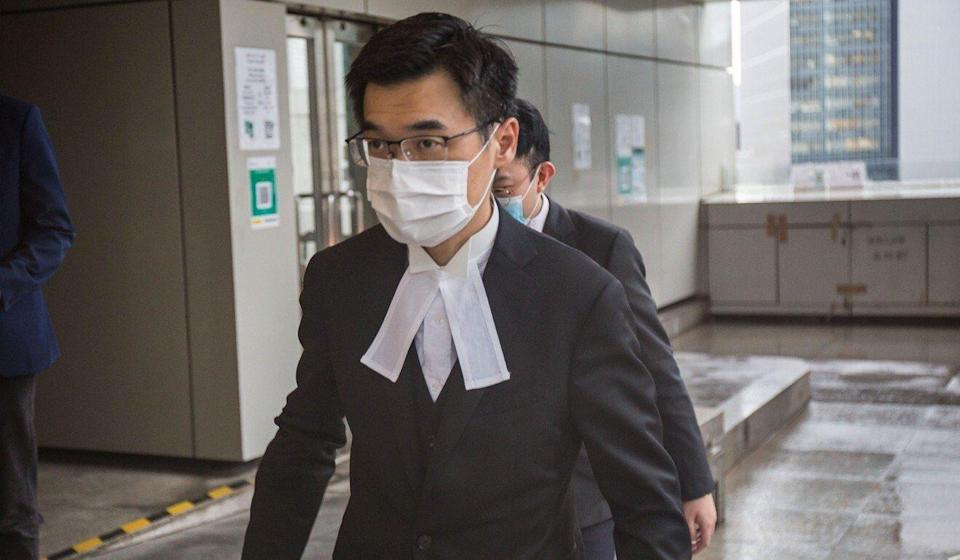 Prosecutor Anthony Chau leaves the High Court after making submissions in the city's first national security law trial on Tuesday. Photo: Brian Wong