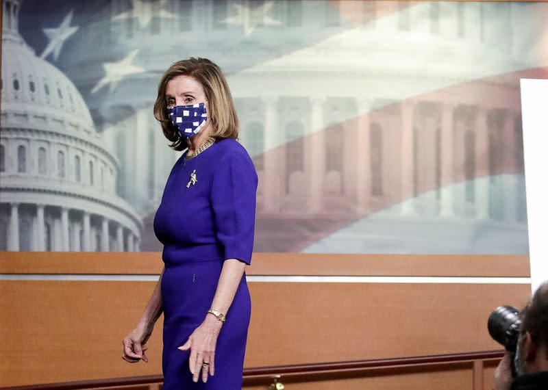 FILE PHOTO: U.S. House Speaker Nancy Pelosi holds weekly news conference at the U.S. Capitol in Washington
