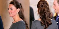 <p>Half-up curls are one of Middleton's signature styles, seen here in 2012.</p>