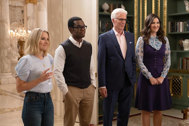 """Kristen Bell as Eleanor, William Jackson Harper as Chidi, Ted Danson as Michael and D'Arcy Carden as Janet in the series finale of """"The Good Place."""""""