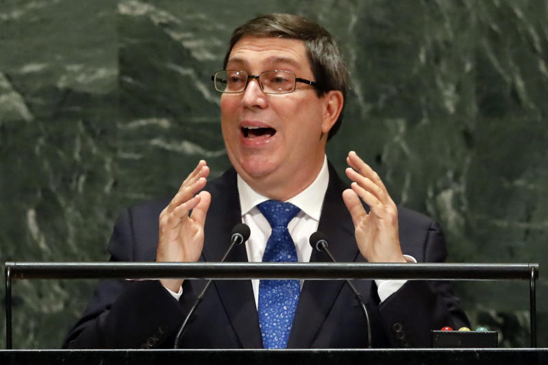 Cuba's Foreign Minister Bruno Eduardo Rodriguez Parrilla addresses the 74th session of the United Nations General Assembly, Saturday, Sept. 28, 2019. (AP Photo/Richard Drew)