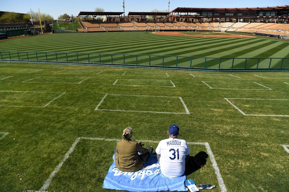 Dodgers fans Lesley Grant and her husband Todd Munson arrive early