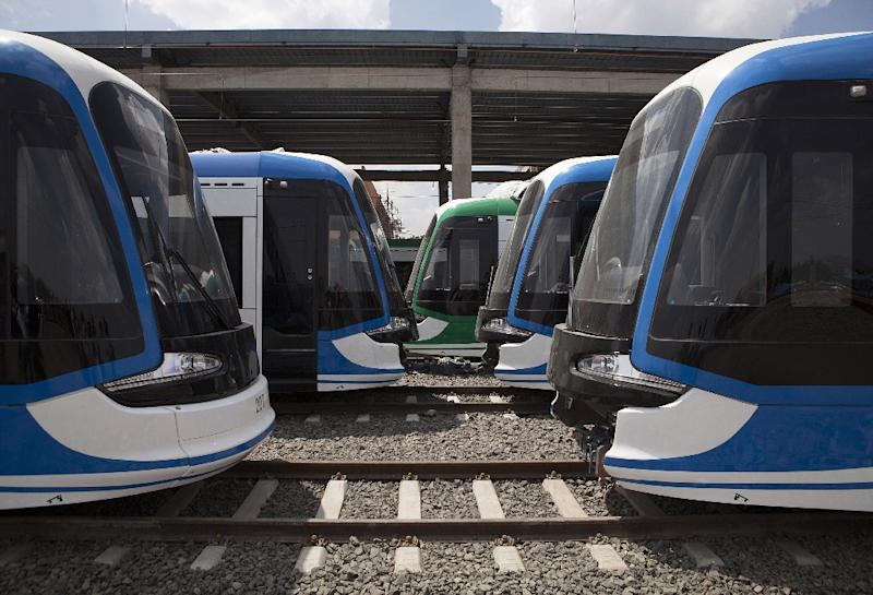 The two-line, 34-kilometre light rail system in Ethiopia's capital Addis Ababa has been touted as a sign of the dividends the country's rapid economic growth is paying to its people (AFP Photo/ZACHARIAS ABUBEKER)