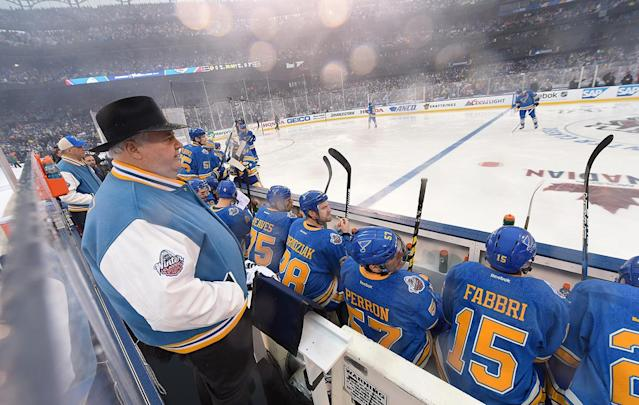 <p>ST LOUIS, MO – JANUARY 02: Head coach Ken Hitchcock of the St. Louis Blues looks on from behind the bench prior to the 2017 Bridgestone NHL Winter Classic at Busch Stadium on January 2, 2017 in St Louis, Missouri. (Photo by Brian Babineau/NHLI via Getty Images) </p>