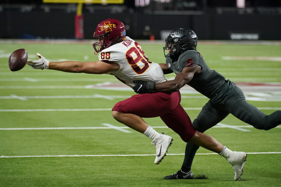 Iowa State tight end Charlie Kolar (88) misses a catch against UNLV defensive back Phillip Hill (5) during the first half of an NCAA college football game Saturday, Sept. 18, 2021, in Las Vegas. (AP Photo/John Locher)