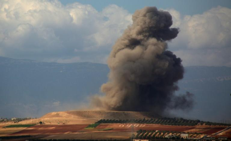 Smoke rises after an air strike near the Idlib province village of Kafr Ain on September 7, 2018 as the presidents of Iran, Russia and Turkey prepared for a summit in Tehran on Syria's last major rebel bastion